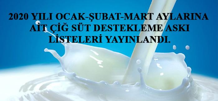 2020 Yılı Ocak-Şubat-Mart Aylarına Ait Çiğ Süt Destekleme Askı Listeleri Yayınlandı